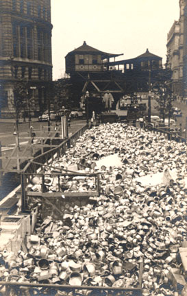 Borough Hall, Brooklyn, metal collected for war effort, 1941.  Scan Copyright Michael Kucher