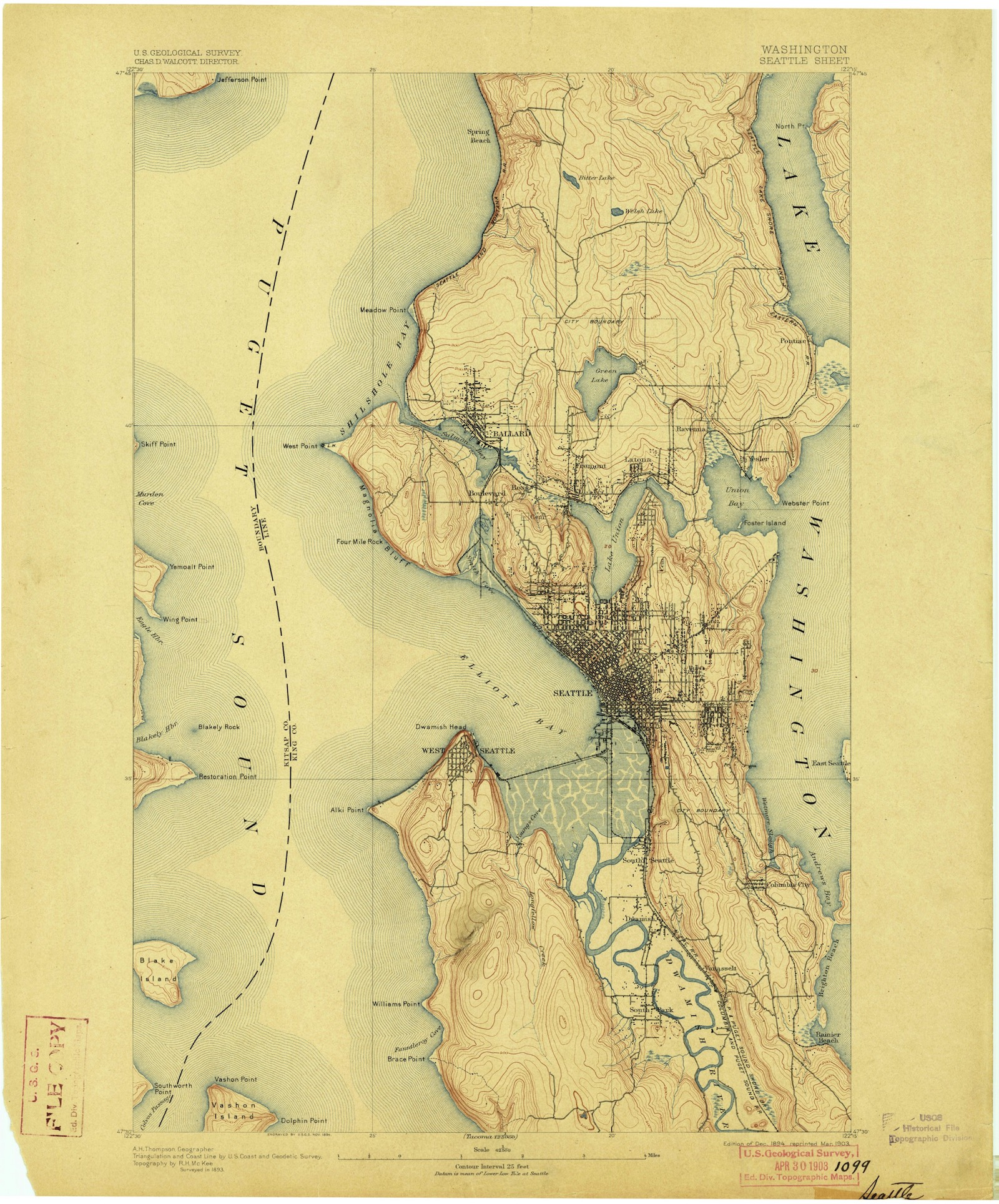 US Geological Survey 1894 Topographical Contour Map ...