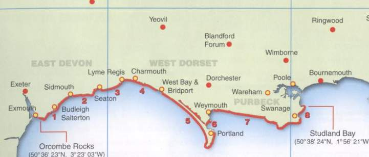 Map Of England Jurassic Coast.The Real Jurassic Park Geology Field Course Along The South Coast